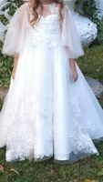 Ball-Gown/Princess Sweep Train Flower Girl Dress - Tulle/Lace 3/4 Sleeves Scoop Neck With Beading/Feather/Sequins (010195354)