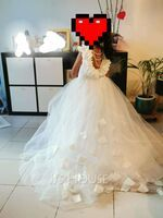 Ball-Gown/Princess Sweep Train Flower Girl Dress - Tulle Lace Sleeveless Scoop Neck With Flower(s) (269262234)