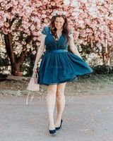 A-Line/Princess Sweetheart Short/Mini Tulle Lace Bridesmaid Dress With Ruffle (007090194)