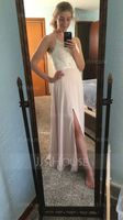 V-neck Floor-Length Chiffon Lace Prom Dresses With Split Front (272235322)