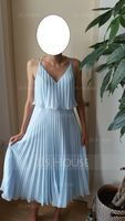 V-neck Tea-Length Chiffon Cocktail Dress With Pleated (270202444)