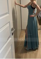 A-Line Square Neckline Floor-Length Chiffon Bridesmaid Dress With Split Front Pockets (007251385)