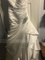 A-Line/Princess V-neck Court Train Satin Wedding Dress With Beading (002127256)