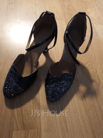 Women's Sparkling Glitter Heels Sandals Ballroom With Hollow-out Dance Shoes (053112152)