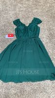 A-Line/Princess V-neck Knee-Length Chiffon Lace Bridesmaid Dress (266177114)