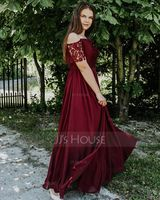 A-Line Off-the-Shoulder Floor-Length Chiffon Lace Bridesmaid Dress With Split Front (007165853)