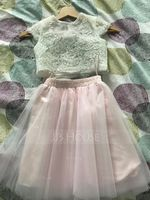Ball-Gown/Princess Knee-length Flower Girl Dress - Tulle Lace Short Sleeves Scoop Neck (269257494)