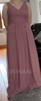 Empire V-neck Floor-Length Chiffon Bridesmaid Dress With Cascading Ruffles (266220699)