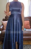 Scoop Neck Asymmetrical Satin Bridesmaid Dress With Pockets (266234604)