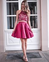 A-Line/Princess Halter Short/Mini Satin Homecoming Dress With Beading Bow(s) (022164859)