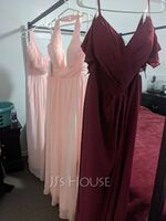 A-Line V-neck Floor-Length Bridesmaid Dress With Ruffle Split Front (007251613)