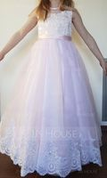 A-Line/Princess Floor-length Flower Girl Dress - Tulle/Lace Sleeveless Scoop Neck With Bow(s) (010153216)