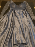 A-Line V-neck Floor-Length Satin Evening Dress With Lace (017254993)