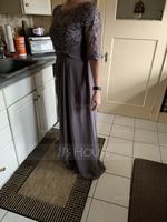Scoop Neck Floor-Length Chiffon Lace Mother of the Bride Dress (267213751)