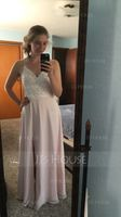 V-neck Floor-Length Chiffon Lace Bridesmaid Dress (266213535)