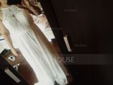 A-Line/Princess Scoop Neck Floor-Length Chiffon Lace Bridesmaid Dress (266177092)