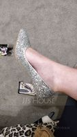 Women's Sparkling Glitter Chunky Heel Closed Toe (273216336)