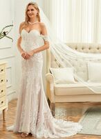Trumpet/Mermaid Off-the-Shoulder Court Train Tulle Lace Wedding Dress (002250164)