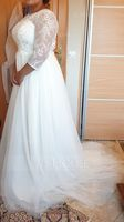 A-Line/Princess Scoop Neck Sweep Train Tulle Wedding Dress With Flower(s) (002121313)