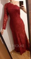 Trumpet/Mermaid One-Shoulder Sweep Train Lace Evening Dress (017254994)