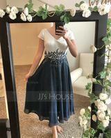 V-neck Tea-Length Chiffon Lace Mother of the Bride Dress (267237370)