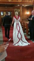 Ball-Gown Off-the-Shoulder Chapel Train Satin Wedding Dress With Beading Flower(s) (002011760)
