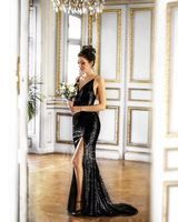 Sheath/Column V-neck Sweep Train Sequined Prom Dresses With Split Front (272194669)