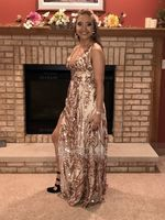 V-neck Floor-Length Sequined Prom Dresses With Split Front (272219487)