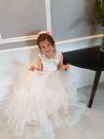 Ball-Gown/Princess Floor-length Flower Girl Dress - Tulle/Lace Sleeveless Scoop Neck (Undetachable sash) (010192413)