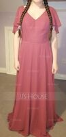 V-neck Floor-Length Chiffon Bridesmaid Dress With Cascading Ruffles (266234286)