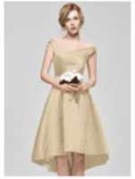 A-Line Off-the-Shoulder Asymmetrical Satin Homecoming Dress With Ruffle (300244064)