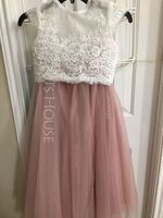 Ball-Gown/Princess Ankle-length Flower Girl Dress - Tulle Lace Short Sleeves Scoop Neck (269262159)