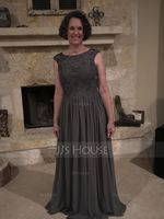 Scoop Neck Floor-Length Chiffon Lace Mother of the Bride Dress (267196712)