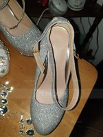 Women's Leatherette Chunky Heel Platform Pumps With Sequin (047187860)