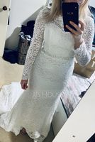 Trumpet/Mermaid Scoop Neck Cathedral Train Lace Wedding Dress With Beading Sequins (002144858)