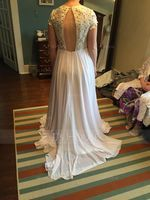 A-Line/Princess Scoop Neck Sweep Train Chiffon Wedding Dress (002171962)