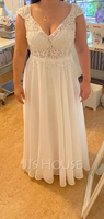 A-Line V-neck Floor-Length Wedding Dress With Lace (002254028)