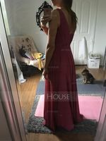 A-Line/Princess V-neck Floor-Length Chiffon Bridesmaid Dress With Ruffle (266177104)