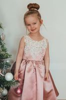 Ball-Gown/Princess Knee-length Flower Girl Dress - Satin/Lace Sleeveless Scoop Neck With Beading/Bow(s) (010211928)