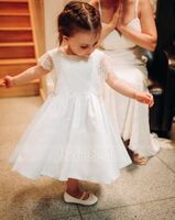 A-Line Knee-length Flower Girl Dress - Satin/Lace Sleeveless Square Neckline (010206307)