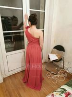 One-Shoulder Floor-Length Chiffon Bridesmaid Dress (266213353)
