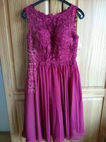 A-Line Scoop Neck Knee-Length Chiffon Lace Homecoming Dress With Beading Sequins (022170648)