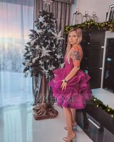 Ball-Gown/Princess V-neck Short/Mini Tulle Homecoming Dress (022236560)