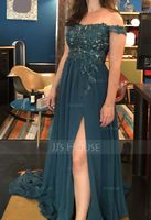 A-Line Off-the-Shoulder Sweep Train Chiffon Evening Dress With Lace Sequins (017196065)