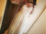 A-Line Illusion Sweep Train Chiffon Wedding Dress With Appliques Lace Split Front (002153452)