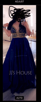 Ball-Gown/Princess V-neck Floor-Length Satin Prom Dresses With Beading Sequins (018163273)