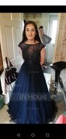 Ball-Gown/Princess Scoop Neck Floor-Length Tulle Prom Dresses With Lace (018175943)