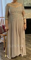 A-Line Scoop Neck Asymmetrical Chiffon Lace Mother of the Bride Dress With Sequins (008252061)