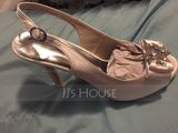 Women's Silk Like Satin Stiletto Heel Peep Toe Platform Pumps Sandals Slingbacks (273214831)