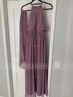 A-Line/Princess Scoop Neck Floor-Length Chiffon Bridesmaid Dress With Bow(s) (266176990)